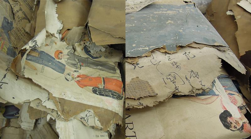 壁から出てきた新聞