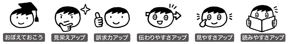 記事の効用をアイコン化した6種類のアイコン。かわいいですね(^^)